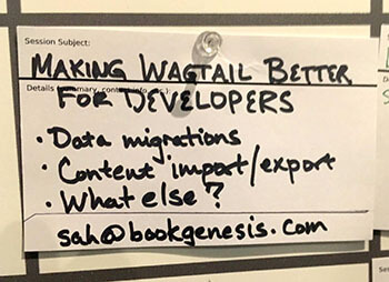 Card advertising the Wagtail CMS open space