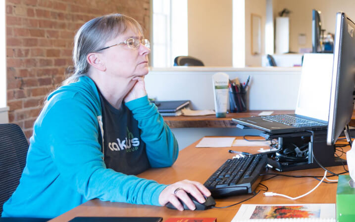 Developer working at her desk