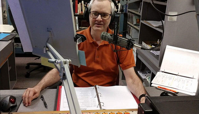 Dan doing a radio broadcast at the WCPE station
